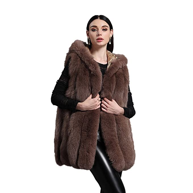 Amazon.com: Largas Real de la mujer Fox Fur Chaleco con ...