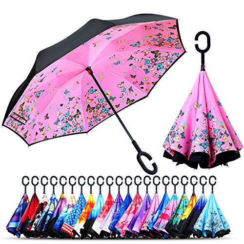 Owen Kyne Windproof Double Layer Folding Inverted Umbrella, Self Stand Upside-Down Rain Protection Car Reverse Umbrellas with C-Shaped Handle (Pink Butterfly)