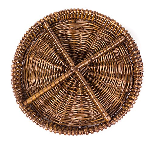 Round Natural Willow Snack Basket Tray Organizer in Dark Caramel Brown- 10 Inches
