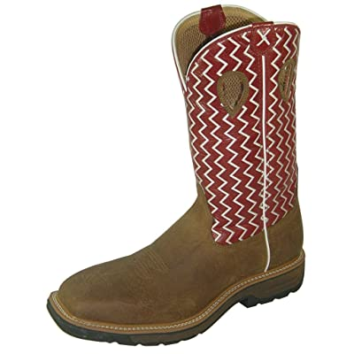 Twisted X Steel Toe Lite Cowboy Work Boots for Men, Distressed Saddle/Cherry | Industrial & Construction Boots