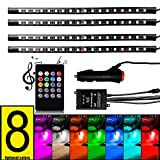 FICBOX 8 Color 72 LED Car Interior Floor Decorative Atmosphere Lights Strip Waterproof Glow Neon Decoration Lamp with Wireless Remote Sound Activated