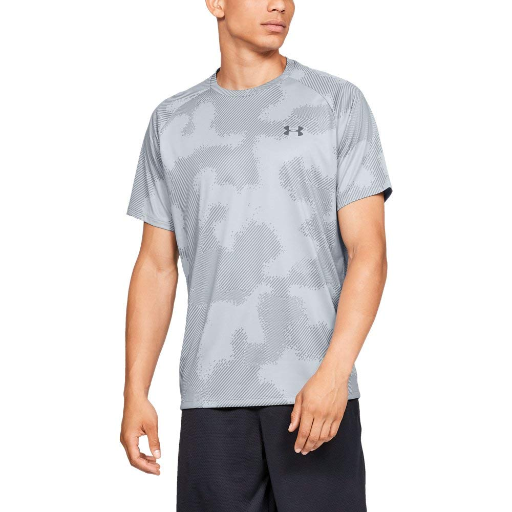 Under Armour Tech Short sleeve Printed 2.0, Mod Gray//Pitch Gray, Medium by Under Armour
