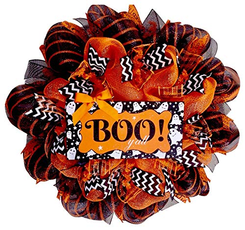 Boo Y'all Southern Decor Halloween Deco Mesh Ghost Wreath -
