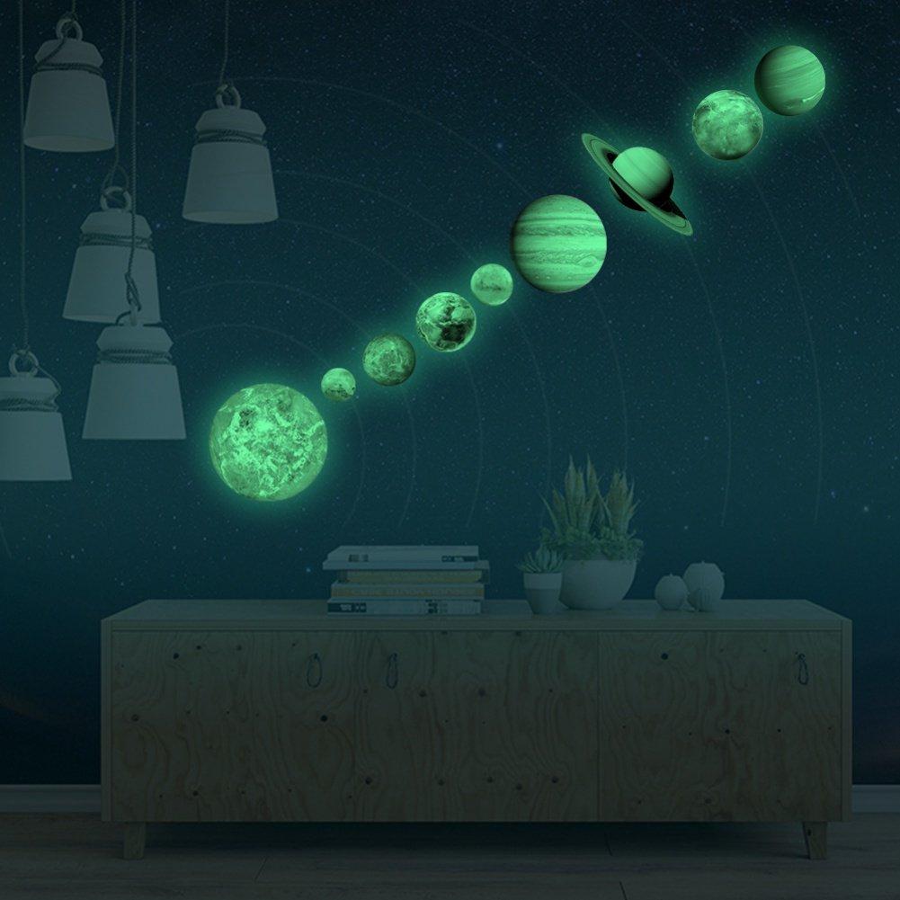 Amazoncom Tracfy Diy 9pcs Glow In The Dark Planet Wall Stickers