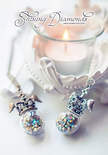 Collar de globo de diamantes, collar de orbe, collar de orbe de cristal con diamantes, colgante de strass, collar de botella de vidrio, colgante de corona, ...