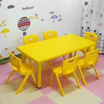 CTC Juegos de mesa y silla para niños/niños, mesas y sillas de aprendizaje/ juegos/comedores para jardín de infantes, uso en interiores/Amarillo / 1 mesa 6 sillas: Amazon.es: Bricolaje y herramientas