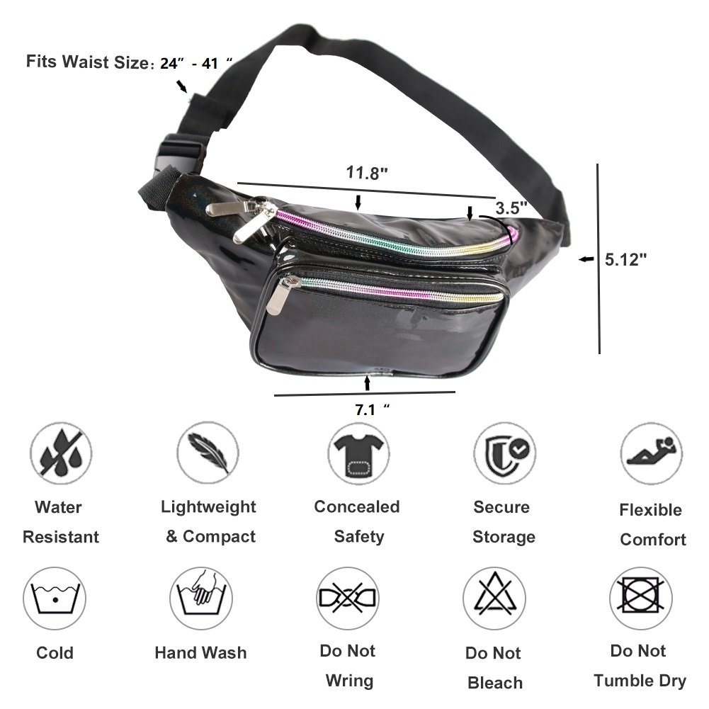 Holographic Fanny Pack for Women - Waist Fanny Pack with Adjustable Belt for Rave, Festival, Travel, Party (Blackberry) by Mum's memory (Image #3)
