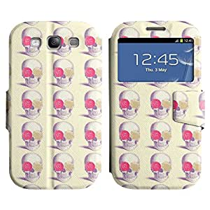 LEOCASE Cráneo y Rose Funda Carcasa Cuero Tapa Case Para Samsung Galaxy S3 I9300 No.1002323