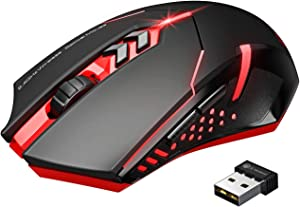 VicTsing Wireless Gaming Mouse with Unique Silent Click, Breathing Backlit, 2 Programmable Side Buttons, 2400 DPI, Ergonomic Grips, 7-Button Design - Red