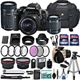 Canon EOS Rebel T6i 24.2 MP DSLR with Canon EF-S 18-55mm f/3.5-5.6 is STM Lens + Canon 55-250mm f/4-5.6 is STM Lens + 2 Memory Cards + 2 Aux Lenses + 50″ Tripod and Accessories Bundle (24 Items)