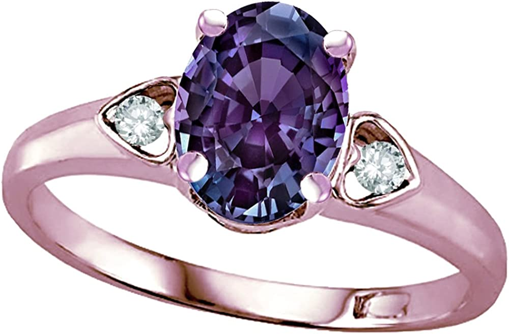 NEW Star K Oval 8x6 Simulated Alexandrite Opening large release sale Love 10kt Ring Promise Gol