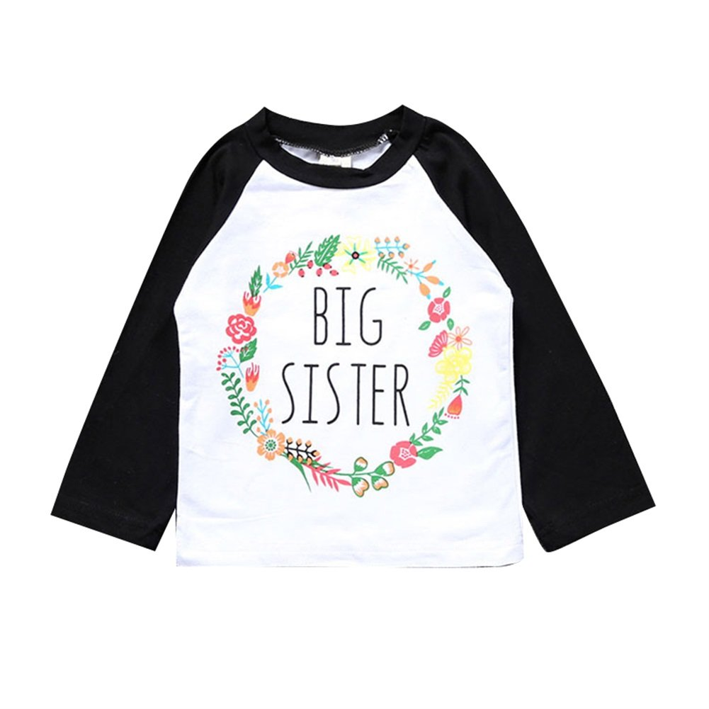 Kingte Toddler Girls Big Sister T Shirt Matching Little Sister Baby Bodysuits White