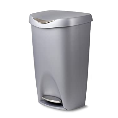 Umbra Brim 13 Gallon Trash Can with Lid - Large Kitchen Garbage Can with Stainless Steel Foot Pedal, Stylish and Durable, Silver/Nickel
