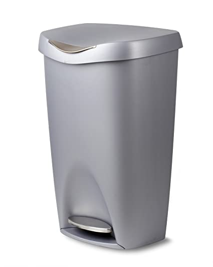 Umbra Brim 13 Gallon Trash Can With Lid   Large Kitchen Garbage Can With  Stainless Steel