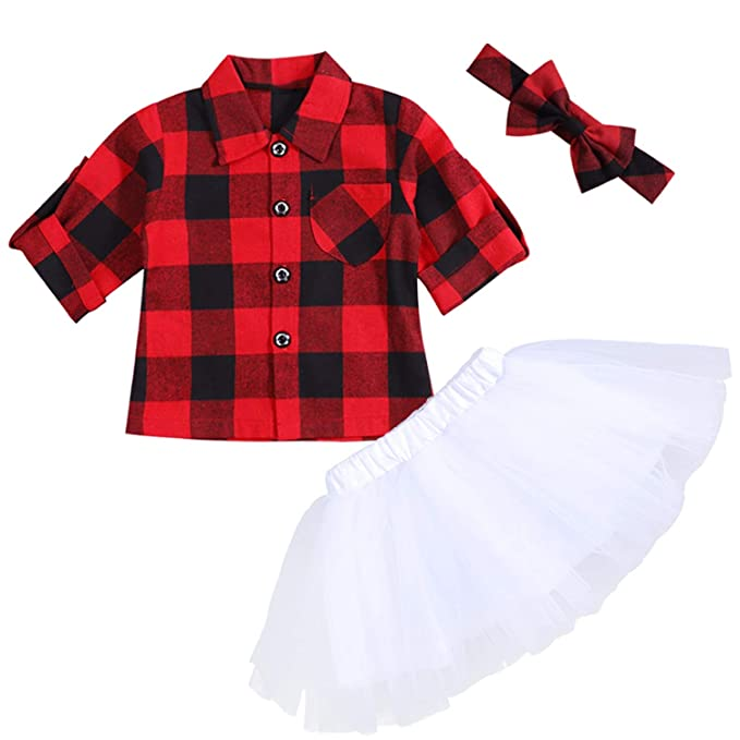 3d66baa0cdaca Toddler Baby Girl Valentine's Day Red Plaid Button Down Flannel T-Shirt  Sweet Tutu Skirts with Headband Infant Dress
