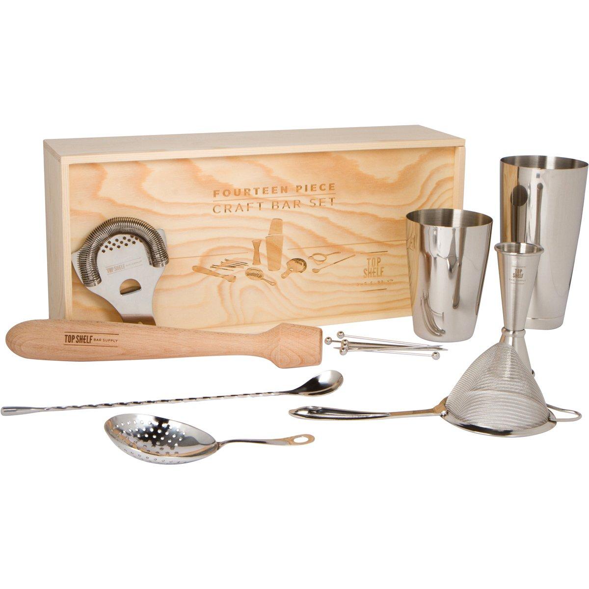 Craft Bar Set: Set of 14 Pro Bar Tools for Bartender and Home Bars Top Shelf Bar Supply