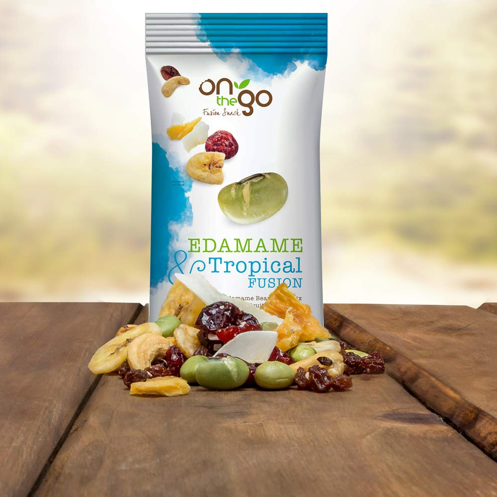 On The Go Roasted & Salted Edamame Bean Trail Mix blended with Tropical Fruits and nuts, 1.5 OZ (Pack - 24)