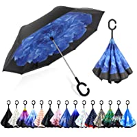 ZOMAKE Double Layer Inverted Umbrellas for Women, Reverse Folding Umbrella Windproof UV Protection Big Straight Umbrella…