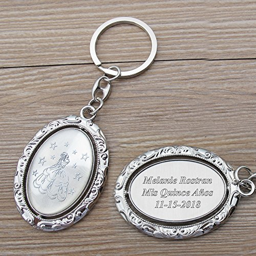 Sweet 16 Keychain Favors - Personalized Spinning Quinceañera Keychain Favor (12 PCS) - Engraved Metal Key Ring/Sweet 15/18 Birthday Customized Gift for Guests with Gift Bag