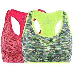 Vermilion Bird Women's High Impact Sports Bra Seamless Racerback Yoga Top For Women XL 2 Pack