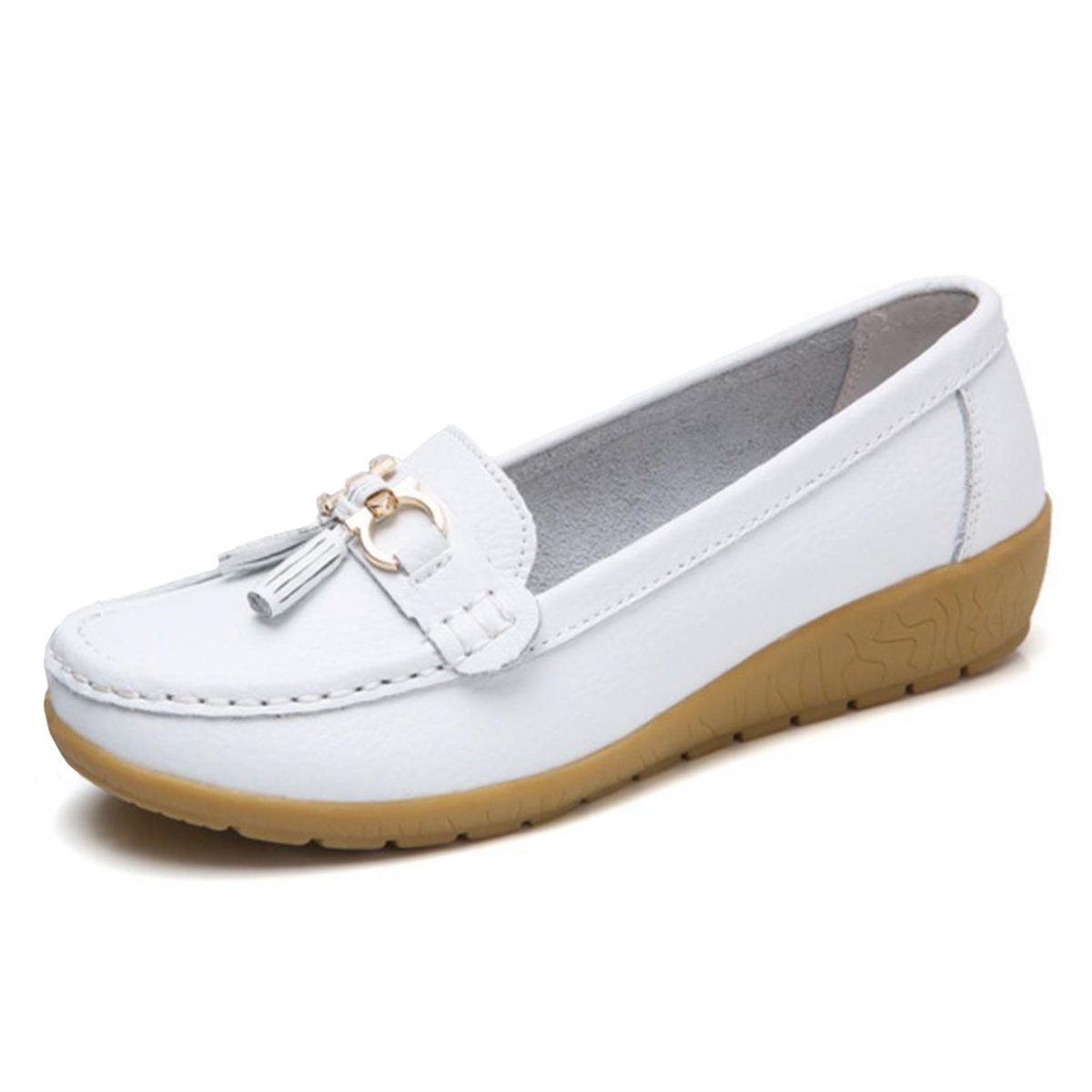 Women Loafers Leather Oxford Slip On Walking Flats Anti-Skid Boat Shoes (7.5 B (M) US, V-White)