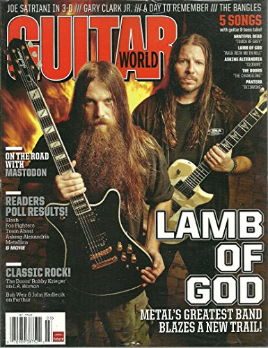 Guitar World Magazine March 2012 Lamb of God Cover, On the Road with Mastodon, 5 Songs with Bass Tabs: Grateful Dead Touch of Grey, Lamb of God Walk With Me in Hell, Pantera Becoming, The Doors Changeling and More