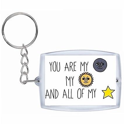 Druckerlebnis24 Llavero Sol, Luna y Estrellas Emoji, You ...