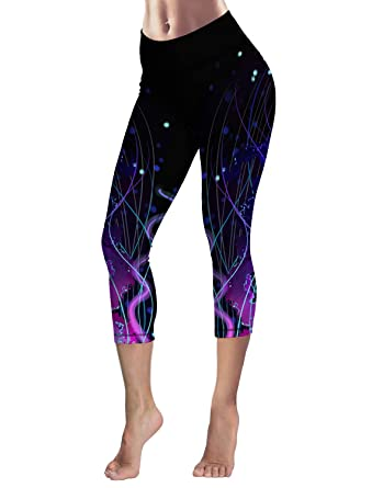 6a7f7a15fe292 Capri Tights Running Workout Leggings Cropped Pants Jellyfish Artsy ...