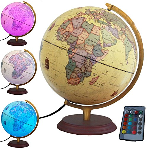 Illuminated World Globe with Built in multi-color LED light 12