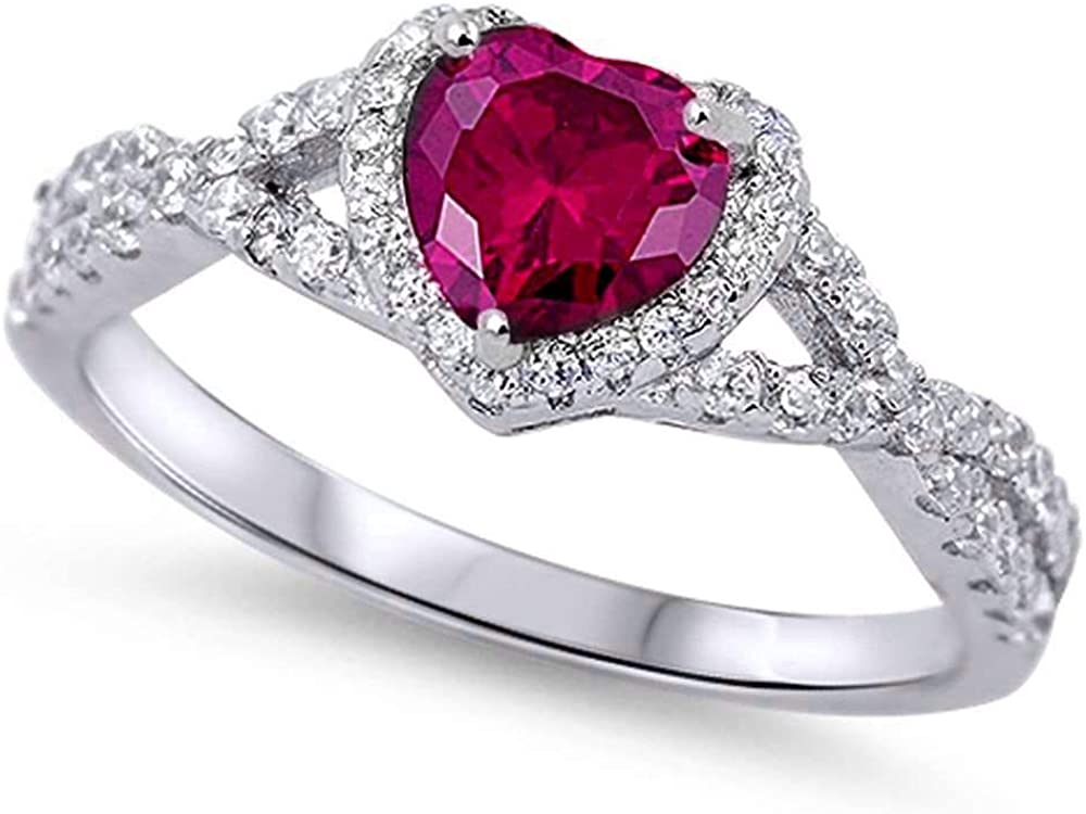 Oxford Diamond Co Sterling Silver Heart Halo Simulated Gemstone Promise...