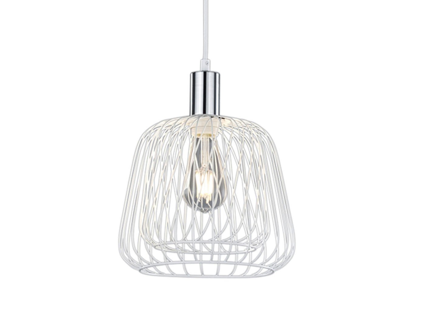 Vintage Pendelleuchte mit Filament LED, Drahtkorb, Weiß / Chrom Ø ...