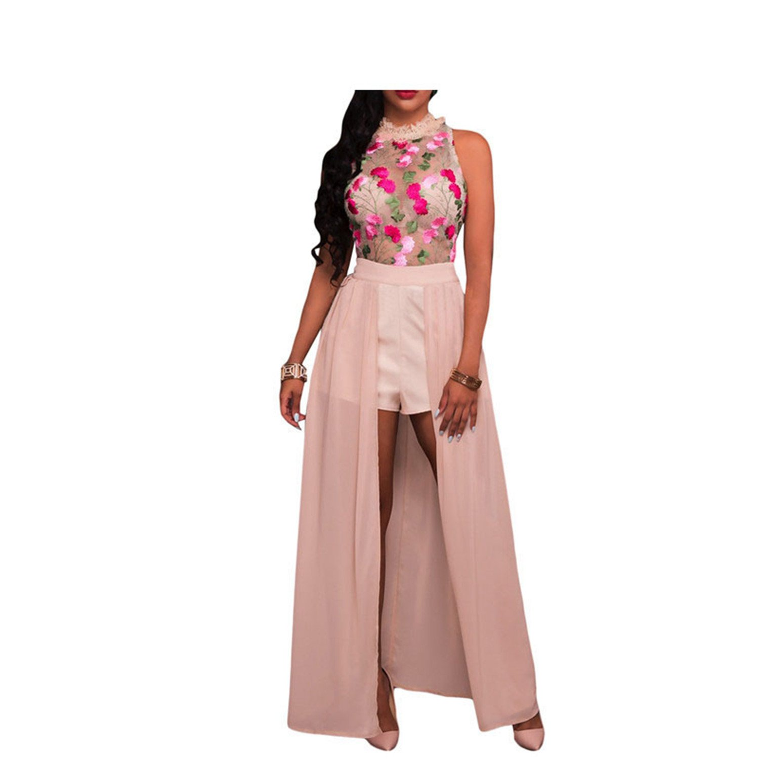 AUUOCC Sheer Mesh Embroidery Chiffon Club Party Womens Rompers LC64265 Pink S