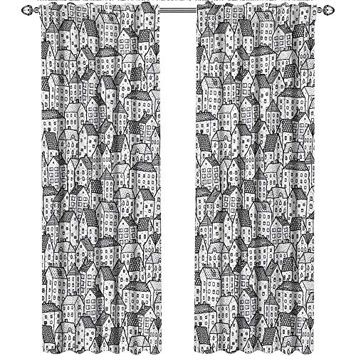 (shenglv City, Party Curtains Decorations, Sketch Style Doodle Drawing Urban Area Hand Drawn Abstract Town Pattern Ornamental, Curtains Living Room, W72 x L84 Inch, Black)