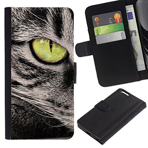 EuroCase - Apple Iphone 6 PLUS 5.5 - green eye cat grey american wirehair - Cuir PU Coverture Shell Armure Coque Coq Cas Etui Housse Case Cover