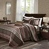 5 Piece Girls Red Brown Jacquard Stripe Theme Bedspread King Set, Elegant Stylish All Over Motif Leaf Geometric Medallion Striped Boho Chic Floral Print, Solid Tufted Revrsible Bedding, Vibrant Colors