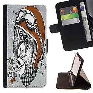 King Case - FOR Sony Xperia Z1 Compact D5503 - wild bike rally - Prima caja de la PU billetera de cuero con ranuras para tarjetas, efectivo Compartimiento desmontable y correa para la mu?eca
