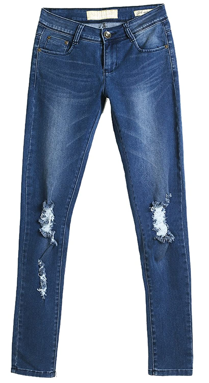 Pinklily Women's Mid Rise Casual Simple Jeans