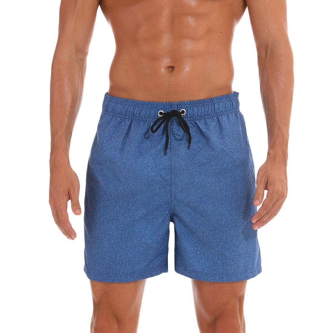 YYear Men Flamingo Active Summer Quick Dry Floral Print Elastic Waist Beach Shorts Boardshort Swim Trunk