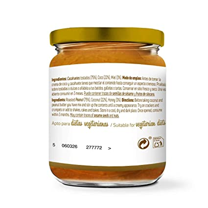 Mantequilla de Cacahuete con Coco y Miel de HSN Foods | 100% Natural | Peanut Butter | Apto Vegetariano - Sin grasa de palma - Sin grasa trans - Sin azúcar ...