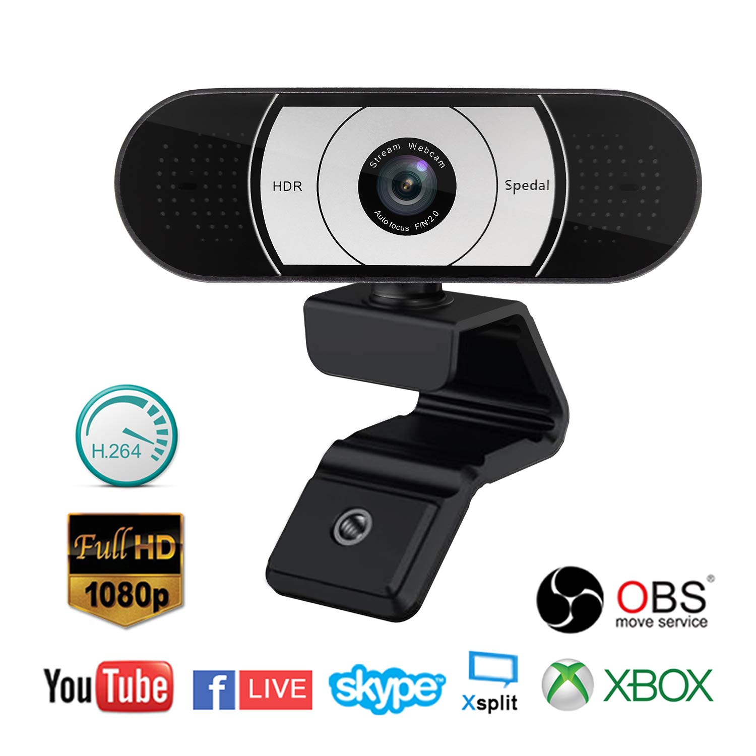 Spedal Pro Stream Webcam 1080P, Auto Focus Game Streaming, Computer Laptop  Camera for OBS Xbox XSplit Skype Facebook, Compatible for Linux Mac OS