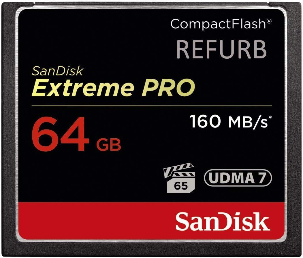 SanDisk Extreme Pro - Tarjeta de memoria CompactFlash (64 GB, 160 MB/s), color negro, dorado (Reacondicionado) y rojo