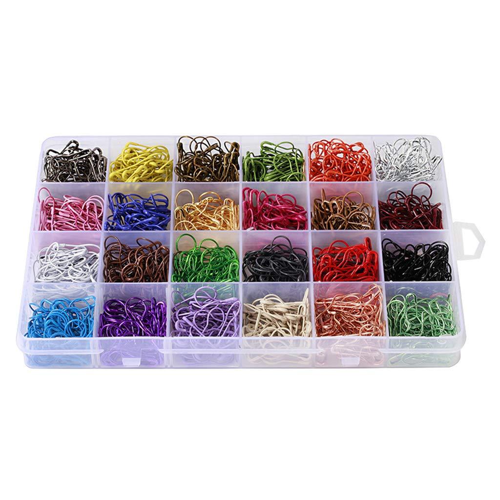 Sharplace 1200 STK Farbe Sortierte Strick Sicherheitsnadeln Calabash Pins Safety Pins Kiltnadel Maschenmarkierer 24 Farben