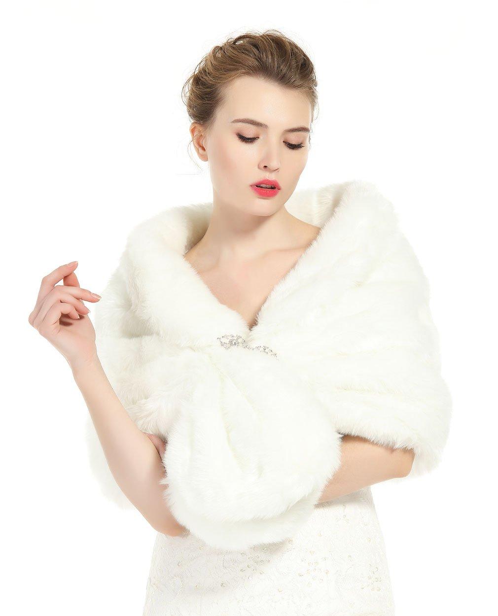 Faux Fur Shawl Wrap Stole Shrug Winter Bridal Wedding Cover Up Ivory Size L