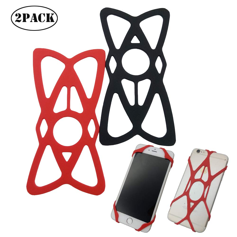 Bike Phones Holder Support,Motorcycle Phone Mount Road Handlebar Cradle Holder Tether Black//Red 2 Pack H-Laner Silicone Straps 4351556482 Security Rubber Bands Replacement Silicone Straps