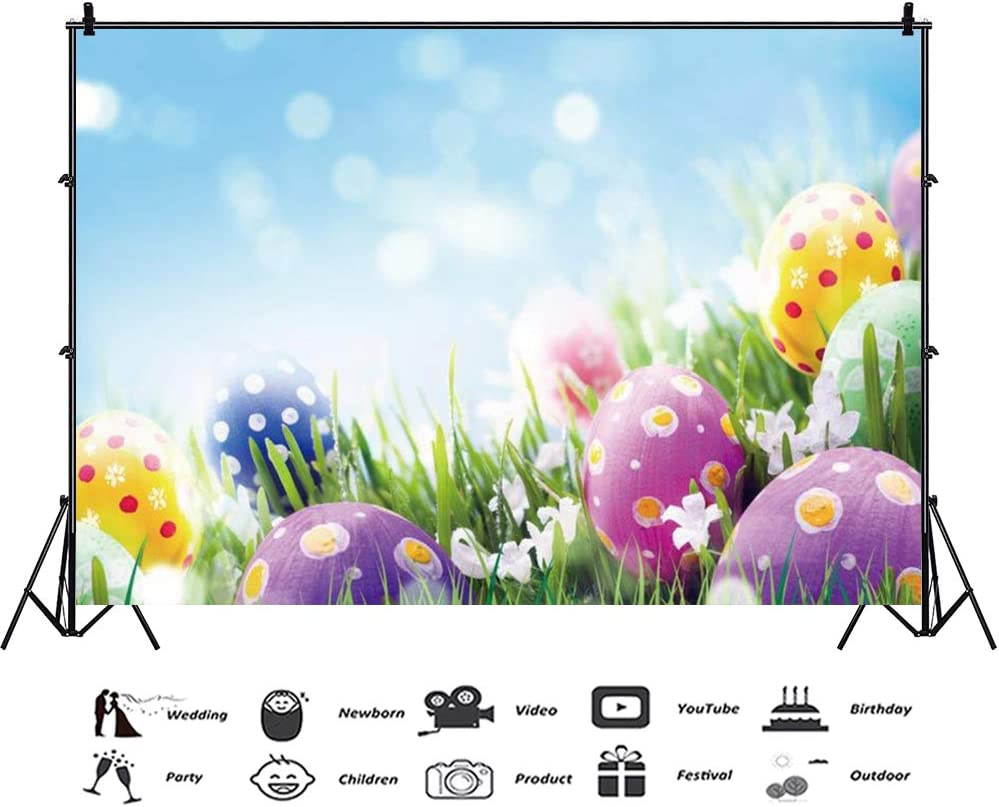 Haoyiyi 10x8ft Spring Easter Eggs Backdrop Green Grass Grassland Blue Sky Cloud Bokeh Flower Floral Background Photography Baby Child Show Birthday Photo Party Decoration Photographer Banner