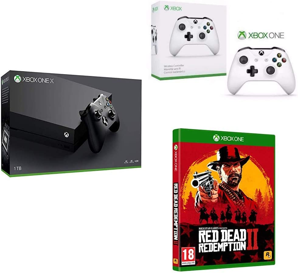 Microsoft Xbox One X - Consola 1 TB 4K HDR Negro + Red Dead Redemption 2 (Xbox One) + Microsoft Xbox Wireless Controller Blanco Gamepad PC, Xbox One S - Volante/mando: Amazon.es: Videojuegos
