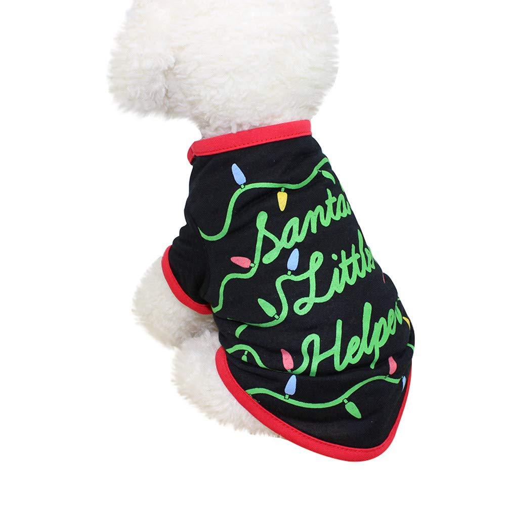 abcnature Christmas Dog Clothing Santa Printed Polyester T Shirt Puppy Costume Pajamas Cute Winter
