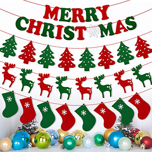 LUDILO 4-Set Christmas Banner 10.7ft 4 Designs Merry Christmas Garland Party Banner Hanging Ornaments Christmas Decorations for Xmas Party Supplies Home Décor Merry Xmas Tree Reindeer Sock 39pcs