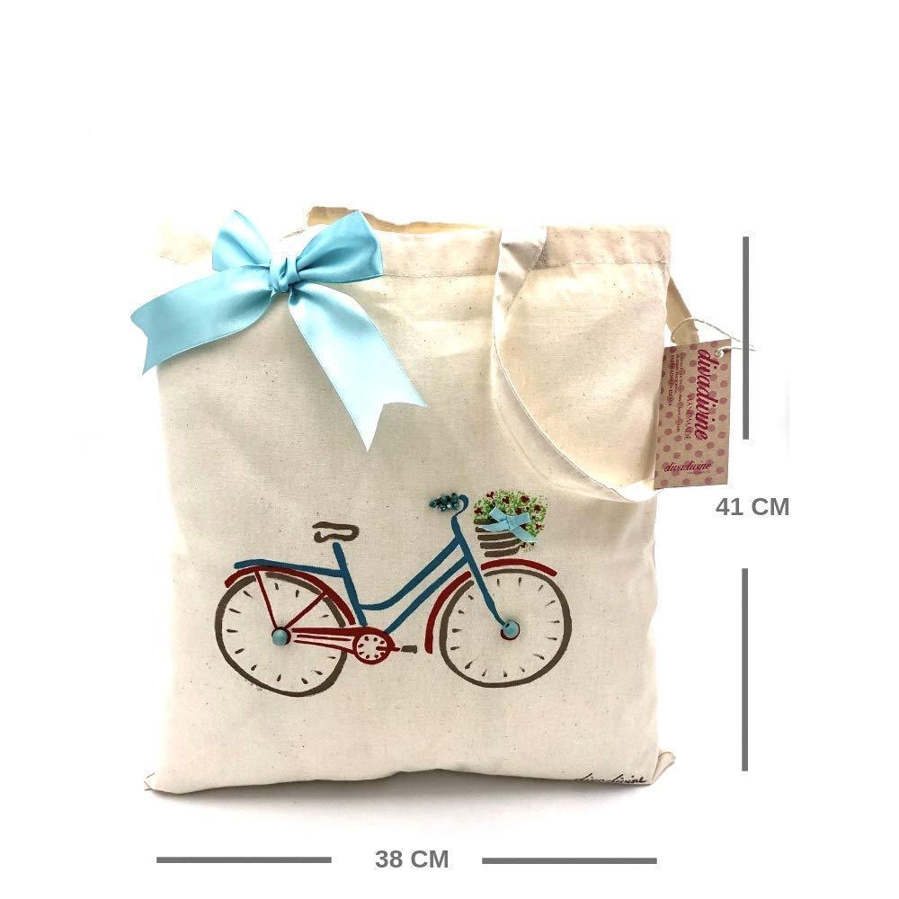 Bolso tote de algodón orgánico bici azul con flores pintada a mano ...