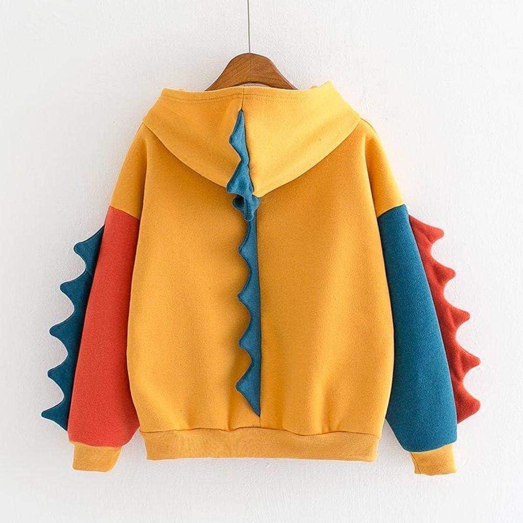 Women Hoodies Sweatshirts Colourful Dinosaur Long Sleeve Casual Tops UK 8-16 Large Size Hooded Sweatshirt Ladies Fashion Loose Splice Novelty Sleeve